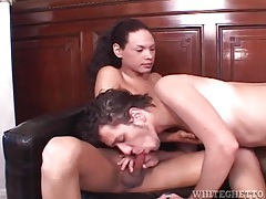 He blows shemales and they cum on him tubes