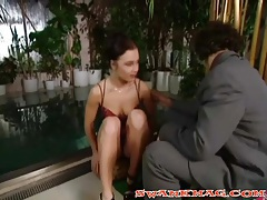 Girl in a shiny dress goes skinny dipping with him tubes