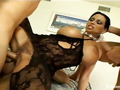 Sexy black lingerie on busty slut doing a gangbang tubes