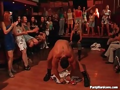 Male stripper teases the ladies at the party tubes