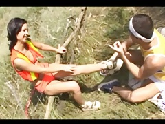 Sucking toes a cute bikini girl outdoors tubes