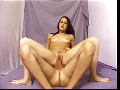 Skinny cocksucker sits on bone and rides on film tubes