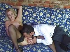 Licking and fingering a sexy blonde girl in stockings tubes