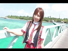Asian teen models schoolgirl outfit outdoors tubes
