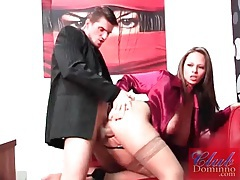 Beautiful woman in stockings fucked from behind tubes