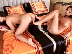 Lesbian foot play with a footjob for a dildo tubes