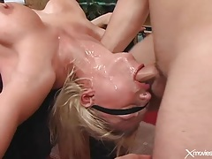 Throat fucking a slutty blindfolded blonde tubes