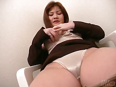 Rubbing her pussy through satin panties tubes