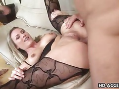 Torn open lingerie on double penetrated blonde tubes