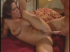 Curvy chick rides cock and she moans for more tubes