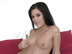 Teen licks her fingers and sticks then in pussy tubes