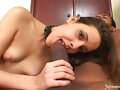 Young sluts with shaved twats fuck in threesome tubes