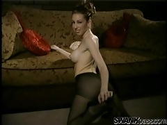 Fake tits temptress strips from black pantyhose tubes