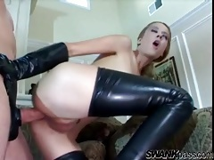 Latex lady uses his cock in her asshole tubes