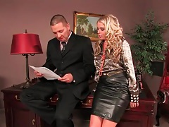 He eats out his secretary in the leather skirt tubes
