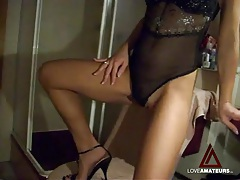 Amateur tease in lingerie fingers her sexy pussy tubes