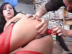 Hard dildo fucking scene with whore in corset tubes