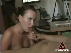 Sensually sucking his hard cock in homemade clip tubes