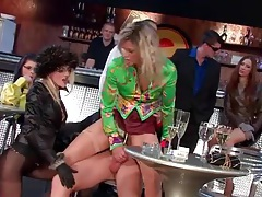 Slut fucked in the bar as friends look on tubes