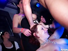 Dirty girls jerking off cocks and dancing at party tubes