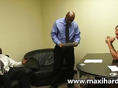 A blonde secretary fucks two black dudes tubes
