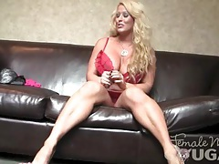 Muscular blonde with huge tits masturbates 1 of 2 tubes