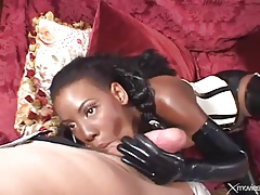 Long white cock slams black girl in her asshole tubes