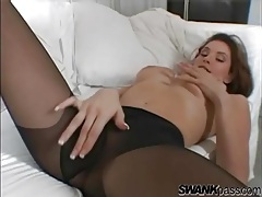 Jamie lynn puts on pantyhose and models her body tubes