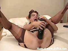 Amateur wife fisted and fucked with a giant dildo tubes