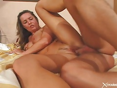 Anal threesome ends with a sticky creampie tubes