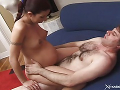 Pregnant beauty blows him and they fuck tubes