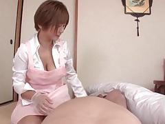 Girl in latex gloves strokes his dick lustily tubes