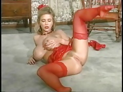Sexy red lingerie on a fake titties blonde girl tubes
