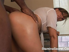 Soreal - young pretty babe screwed by a huge black cock and cum 2 tubes