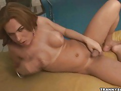 Tasty latina tranny honey tugging on her hard cock tubes