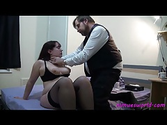 He disciplines a fat girl with cane tubes