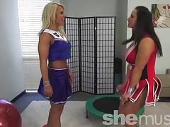 Bouncy big titted muscle girl cheerleaders 1 of 2 tubes