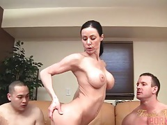 Muscle pornstar takes on two men tubes