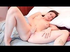 Cutie in soft satin lingerie masturbates solo tubes