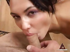 Cocksucking latina goes down on his small cock tubes