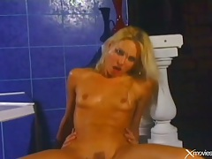 Skinny blonde girl laid in her tight asshole tubes