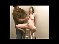 He gropes perky tits of a girl in pussy bondage tubes
