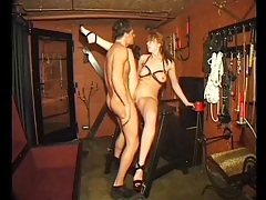 Fucking a shot shaved sub girl in his dungeon tubes