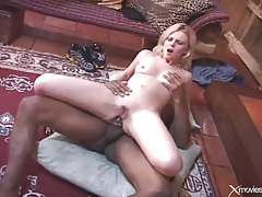 Thick black shaft fucks blonde girl in all her holes tubes