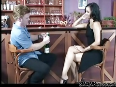 He eats out glamorous girl pussy in the bar tubes