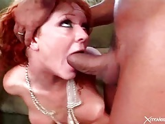 Cute curly redhead done hard in double penetration tubes