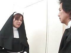 Japanese nun stripped naked and fondled tubes