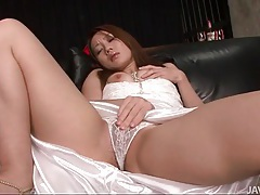 Masturbating japanese girl in white satin wedding dress tubes