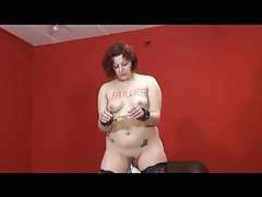Chubby girl in stockings takes humiliation tubes