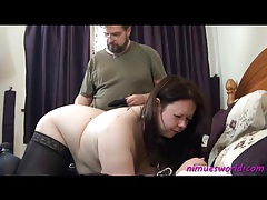 Bbw in black stockings takes a light spanking on her ass tubes